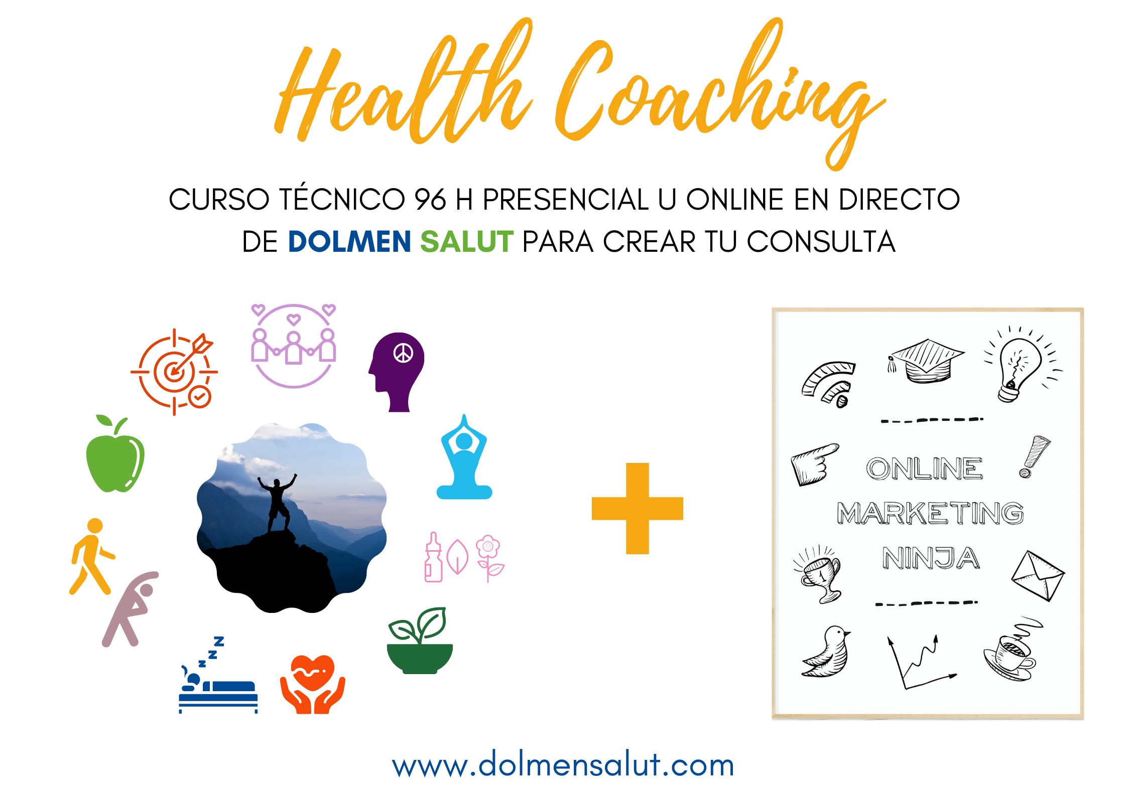 Curso de Técnico en Health Coaching de DOLMEN SALUT en Barcelona. Presencial, con opción a seguir las clases online en directo.