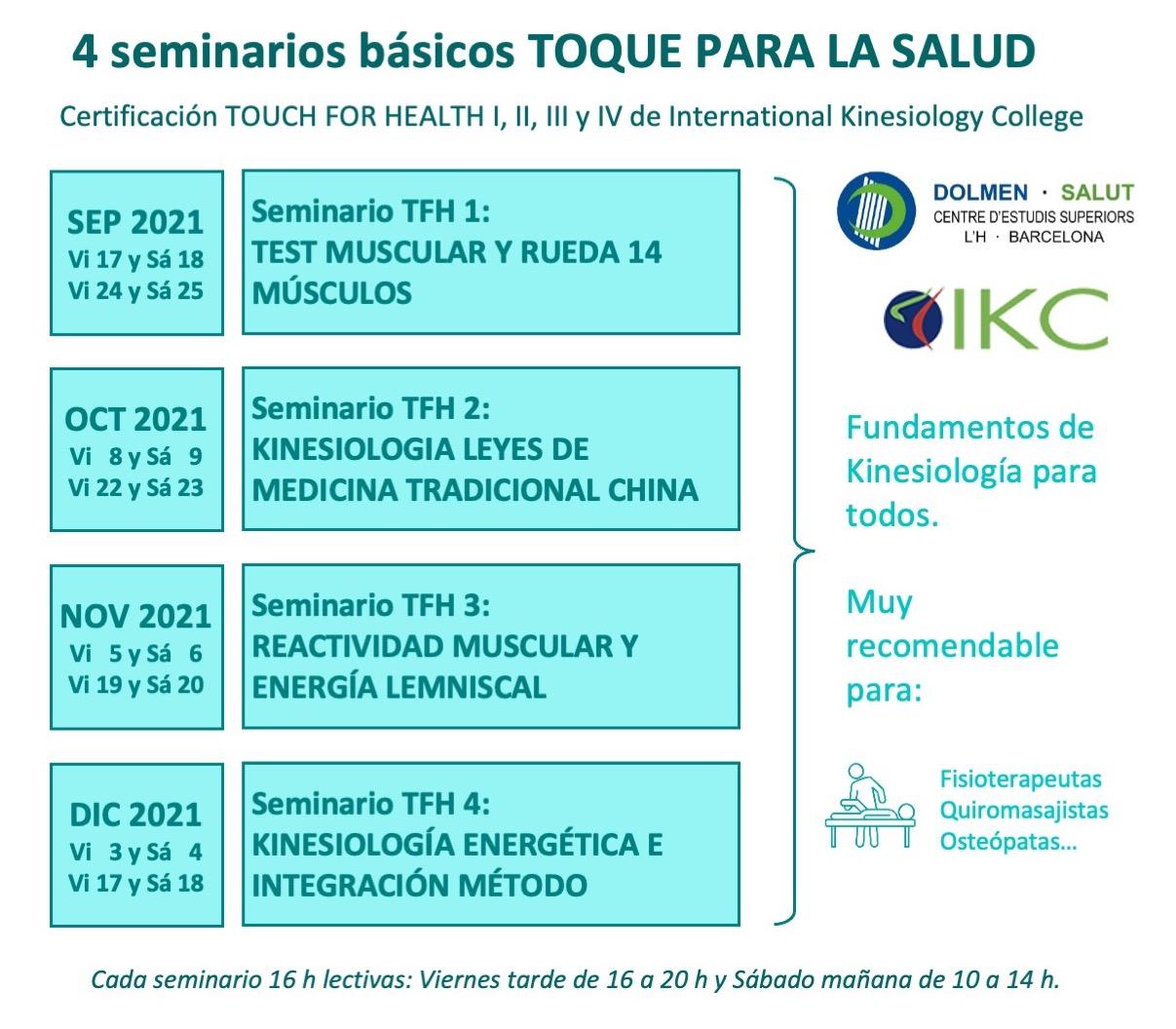Calendario seminarios TOUCH FOR HEALTH TFH de Kinesiología en DOLMEN SALUT Barcelona